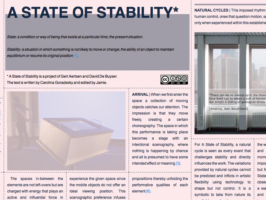 State of stability, website screenshot